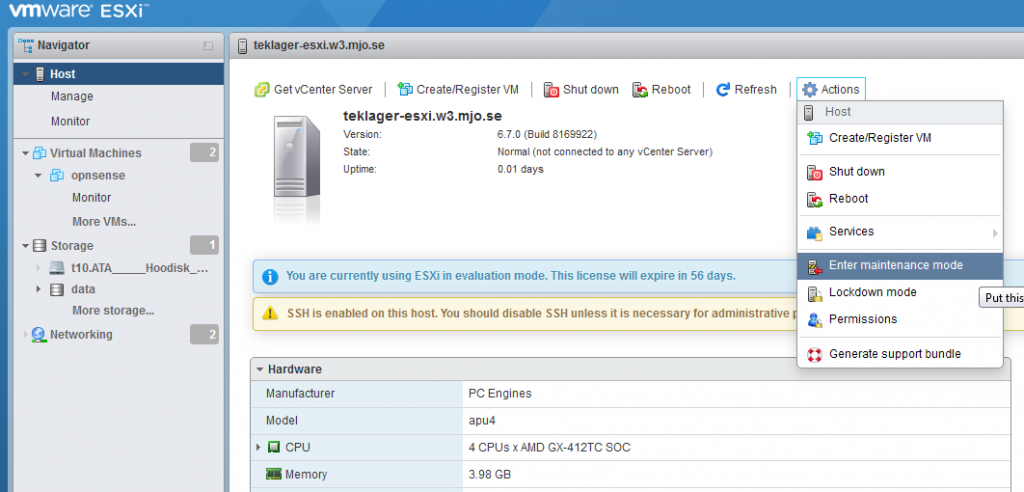 How to reclaim disk space from a default VMWare ESXi install on APU4C4